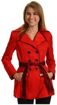 Betsey Johnson Belted Raincoat w/ Lace Trim (Red Slipper) - Apparel