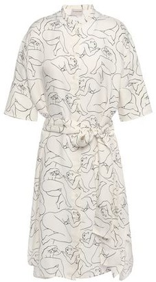 By Malene Birger Belted Printed Twill Shirt Dress
