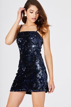 Girls On Film Hamilton Navy Velvet Sequin Dress