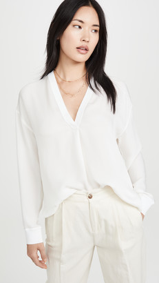 Vince Long Sleeve Rib Trim Double V Neck