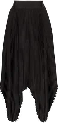 Hyke pleated handkerchief hem midi skirt