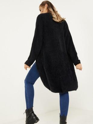 Quiz Fuzzy Knit Long Sleeve Long Cardigan - Black