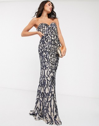 Bariano bandeau maxi dress with ornate embellishment in navy