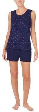 Nautica Printed Tank Top & Solid Boxer Shorts Pajama Set