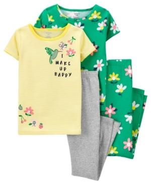 Carter's Big Girls 4 Piece Floral Snug Fit Pajama Set
