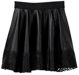 Hannah Banana Faux Leather Lazer Cutout Skater Skirt (Big Girls)