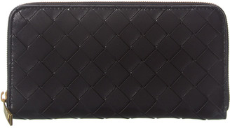 Bottega Veneta Intrecciato Leather Zip Around Wallet