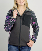 Dark Gray & Pink Camo Serenity Hardshell Jacket - Women