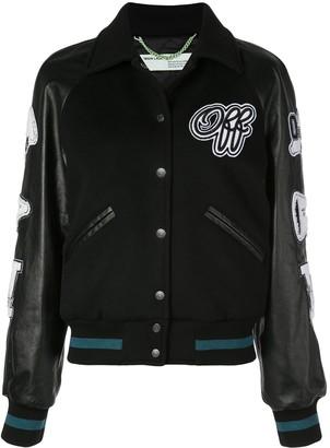 Off-White varsity inspired bomber jacket