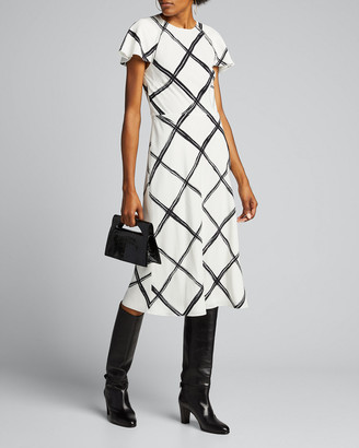 Jason Wu Collection Windowpane-Print Crepe Day Dress