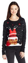 It's Our Time Junior's Christmas 3D Upside Down Santa Cute Christmas Sweater