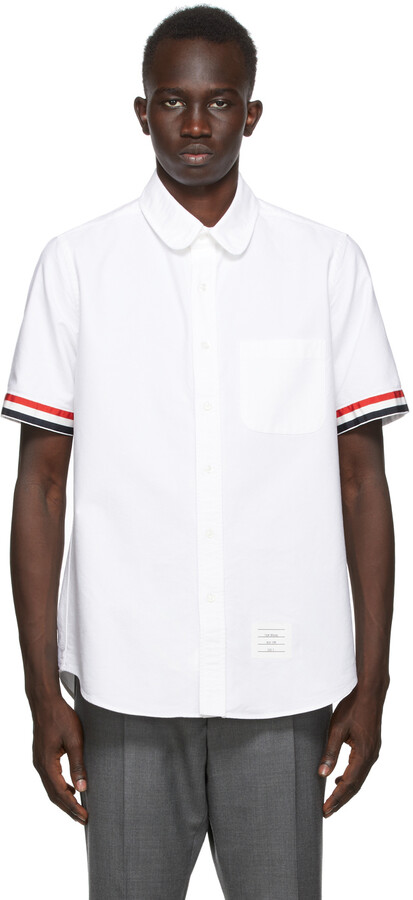 Thom Browne Online Exclusive White Grosgrain Cuff Straight Fit Short Sleeve Shirt