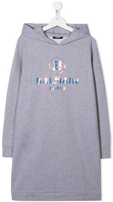 Balmain Kids TEEN logo-print hooded dress