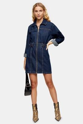 Topshop Womens Indigo Denim Long Sleeve Shirt Dress - Indigo