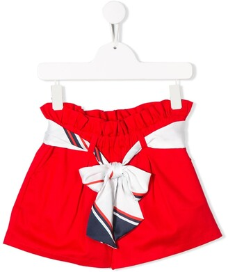 Msgm Kids High-Waisted Pussy Bow Shorts