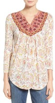Lucky Brand Women's Embroidered Bib Knit Top