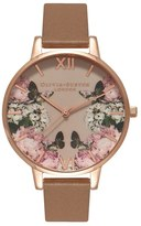 Olivia Burton Women's 'Enchanted Garden' Leather Strap Watch, 38Mm