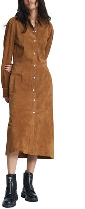 Rag & Bone Jack Suede Long Sleeve Shirtdress