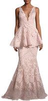 Marchesa Sleeveless Plunging V-Neck Peplum Gown, Blush