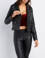 Charlotte Russe Studded Faux Leather Moto Jacket