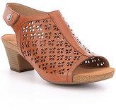 Josef Seibel Ruth 33 Laser-Cut Leather Sling-Back Peep-Toe Sandals