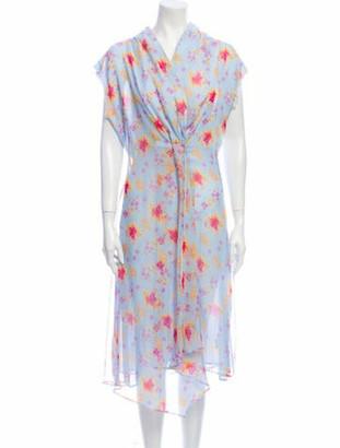 Dodo Bar Or Floral Print Midi Length Dress w/ Tags Blue