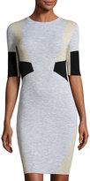 Belstaff Hart Half-Sleeve Bodycon Colorblock Dress, Pale Stone/Porcelain White/Black