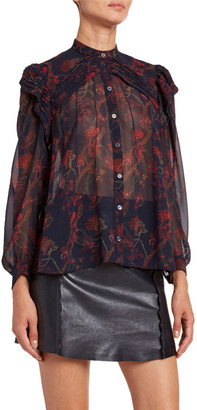 Chloé Floral-Print Silk Long-Sleeve Blouse