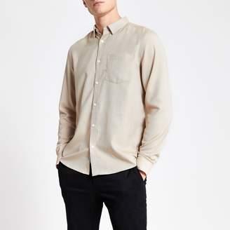 River Island Mens Beige slim fit long sleeve textured shirt