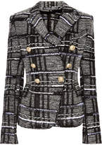 Balmain Double-breasted Checked Tweed Blazer - Black