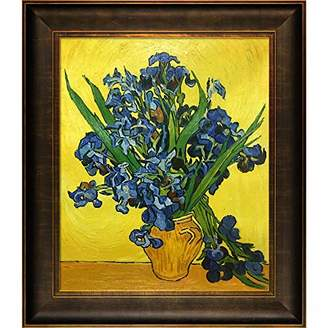 La Pastiche Irises in a Vase Framed Oil Painting