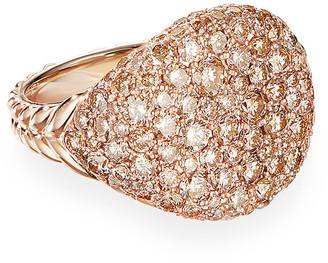 David Yurman Chevron Pave Diamond Pinky Ring in 18k Rose Gold, Size 3.5
