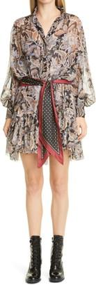 Zimmermann Ladybeetle Long Bishop Sleeve Silk Minidress