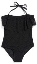 Gossip Girl Girl's Crochet Flounce One-Piece Swimsuit