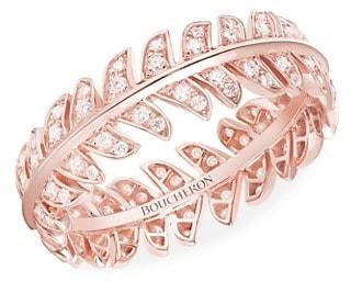 Boucheron Plume de Paon 18K Rose Gold & Diamond Peacock Feather Ring