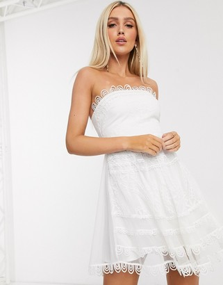 Love Triangle bandeau skater mini dress with scallop detail in white