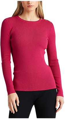 Lauren Ralph Lauren Ribbed Cotton-Blend Sweater (Bright Fuchsia) Women's Clothing