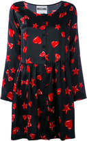 Moschino heart, star and lip print dress - women - Silk - 42