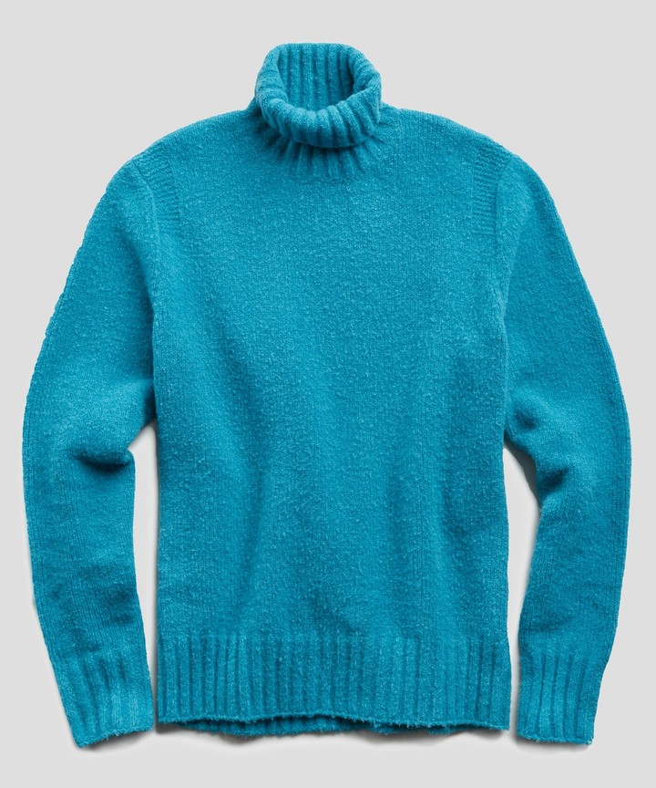 Todd Snyder Chunky Turtleneck in Turquoise