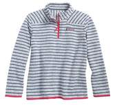 Vineyard Vines Girl's Shep Stripe Fleece Quarter Zip Pullover