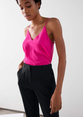 And other stories Scalloped Silk Tank Top