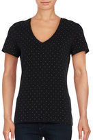 Lord & Taylor Petite Austin Dot Short Sleeve V-Neck Tee