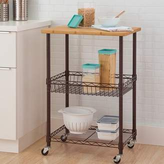 Trinity Basics Kitchen Cart with Solid Wood Top