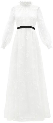 Erdem Clementine Floral-embroidered Organza Gown - White