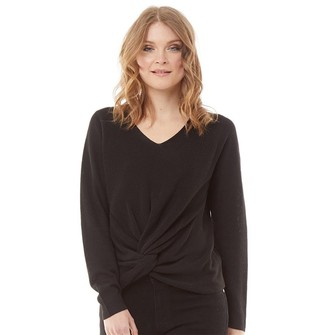 Onfire Womens Knotted Front Jumper Black