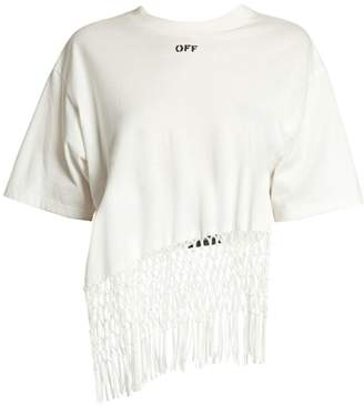 Off-White Off White Asymmetric Hem Fishnet Cotton Tee