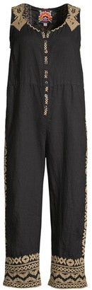 Johnny Was Tracy Easy Embroidered Crop Linen Jumpsuit