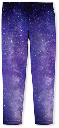 Emma & Elsa Girls' Leggings - Purple Stars Fleece-Lined Leggings - Toddler