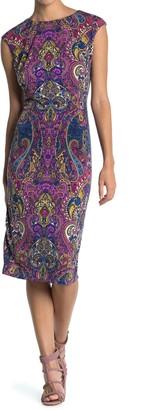 London Times Cap Sleeve Midi Dress (Petite)