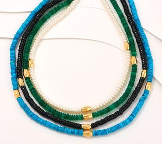 Gemstone Sterling Silver Multi-Layer Necklace
